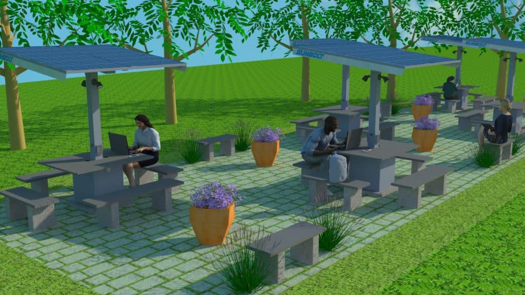 outdoor classroom workstations